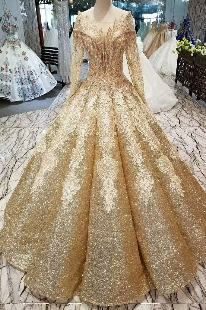 44da1420fa Ball Gown Gold Long Sleeves Lace Appliques Sequins Open Back Beads Quinceanera  Dresses uk PH894