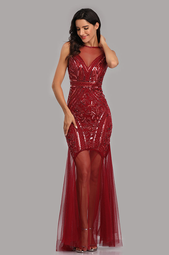 See Through Burgundy Mermaid Bateau Prom Dresses with Beading Tulle Party Dresses XU90816