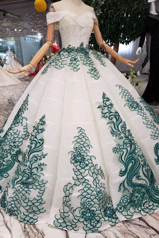 White Ball Gown Off the Shoulder Beads Sweetheart Quinceanera Dresses with Green PW785