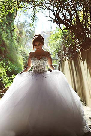 White Sheer Long Sleeves Beaded Sweetheart Crystals Ball Gown Corset Tulle Wedding Dresses PM159