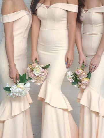 Off-the-Shoulder Sweetheart Mermaid Unique Champagne Long Bridesmaid Dresses PM596