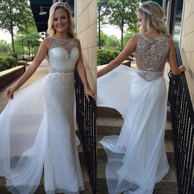 White Backless Sheer Silver Beaded Bodice with Sparkle Long Chiffon Sequin Prom Dresses uk PH110