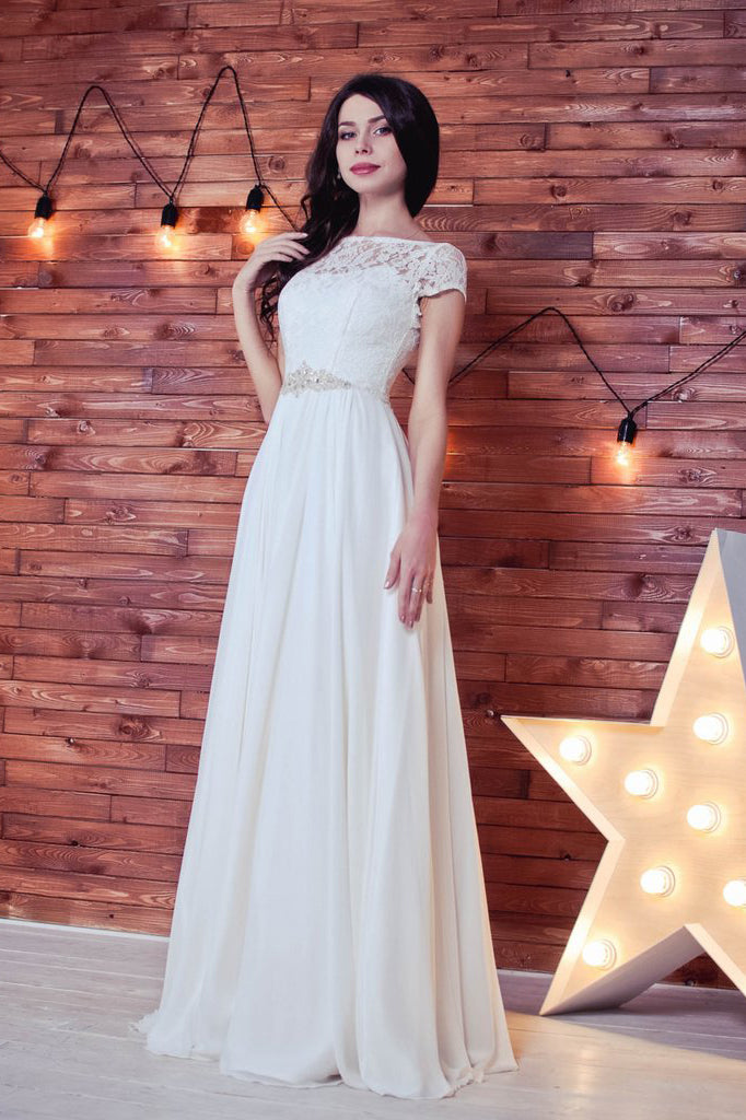 Lace Romantic White Chiffon A-Line Floor-Length Bateau Short Sleeve Wedding Dress PM413