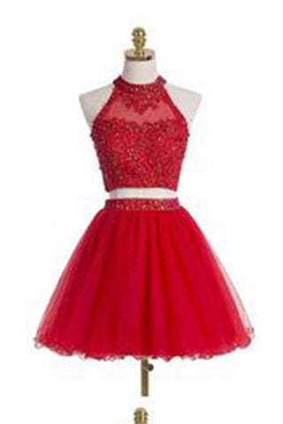Two-piece Scoop Short Red Beaded Homecoming Dress with Appliques Sequins PM485