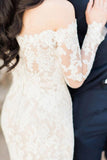 Gorgeous Off the Shoulder White Lace Long Sleeves Mermaid Wedding Dress PM315
