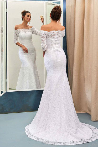 Mermaid Off-the-Shoulder Lace Sweep Train 3/4 Sleeve Top Lace-up Wedding Dresses uk PM634