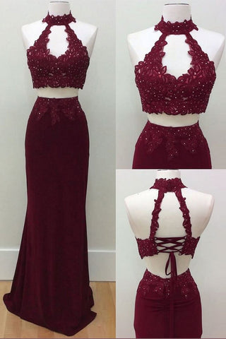 Mermaid Two Piece Burgundy Modest Long Halter Open Back Beads Prom Dresses uk PH186