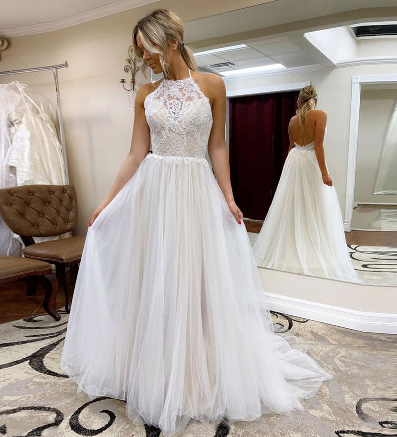 A Line Halter Tulle Wedding Dress with Top Lace, Backless Beach Wedding Dresses W1243