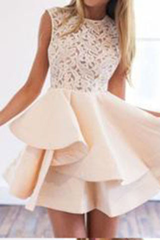 Beige Sheer Crochet Lace Panel Sleeveless Layered Skater Dress Cap Sleeve Prom Dresses uk PM870