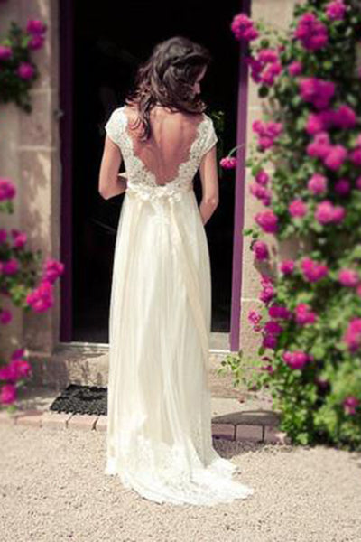 Cap Sleeves Beach Wedding Dresses Elegant Empire Pregnant V neck Open Back Lace Summer Wedding Dress