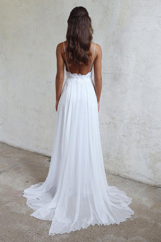 Backless Beach White Cheap Spaghtti Straps Bridal Wedding Dress PM67