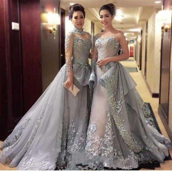 High Neck A-line Long Sleeve Tulle Appliques Sweep Train Long Prom Dresses uk PM416