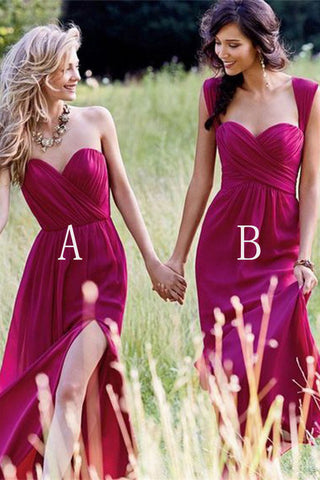 Red Cheap Chiffon Floor Length Side Split Long Sweetheart Sleeveless Bridesmaid Dress PM351