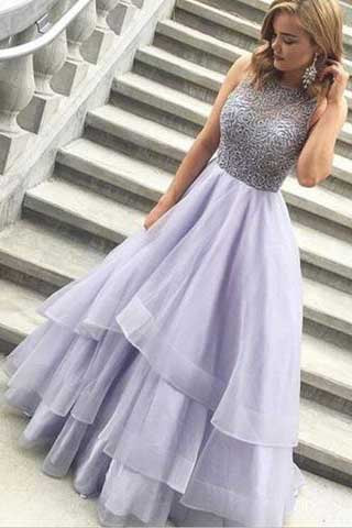 Charming A-Line High Neck Purple Beads Open Back Tulle Evening Dress,Prom Dresses UK PH418