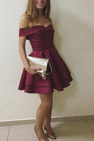 A Line Satin Burgundy Off the Shoulder Sweetheart Above Knee Homecoming Dresses uk PH926