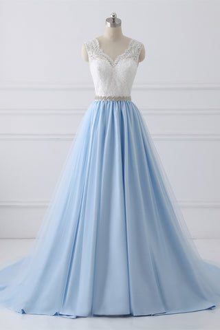 A-Line V-Neck Lace Top Sky Blue Skirt Cheap Sweetheart Tulle Satin Wedding Dresses with Sash PH156