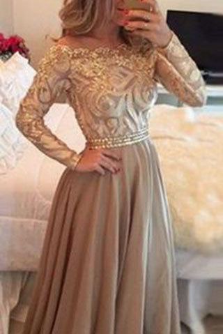 Hot Selling A-Line Cowl Floor Length Gold  with Long Sleeves Prom Dresses uk PM710