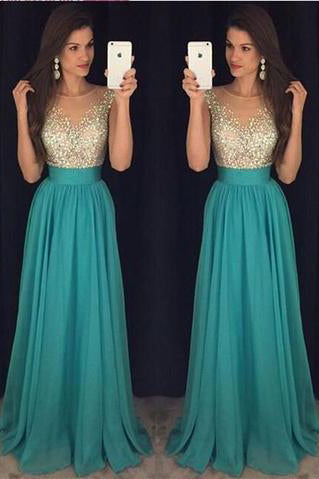 2017 Sexy Crew Neck Chiffon Long Tulle Beaded Stones Top Floor Length Prom Dresses uk PM162