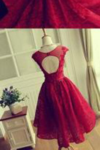 Red Lace Short Modest Appliques Sleeveless Open Back Pretty Homecoming Dresses PM246