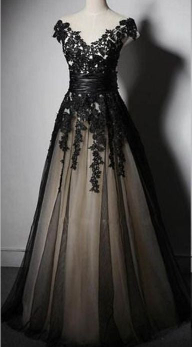 Charming Appliques Lace-up Sweetheart Short Sleeve Black Tulle Evening Dresses uk PM765