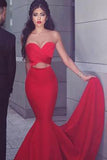 Gorgeous Strapless Sweetheart Sleeveless Open Back Mermaid Red Long Prom Dresses uk PM768