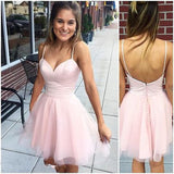Sexy Short Cute Pink Spaghetti Straps Tulle Mini Junior Backless V-Neck Homecoming Dresses