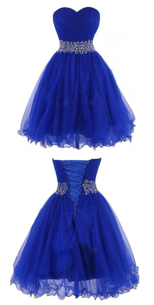 Modern Sweetheart Knee Length Royal Blue Homecoming Dress PM326