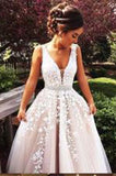 2017 Off shoulder Lace A-Line V-Neck Sleeveless White Appliques Sexy Prom Dresses uk 15232