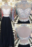Glamorous Two Piece High Neck Cap Sleeves Long Black Prom Dress with Beading Open Back PM781