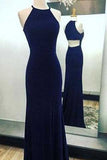 Sexy Navy Blue Long Chiffon Halter Mermaid Sleeveless Floor-Length Scoop Prom Dresses uk PM823