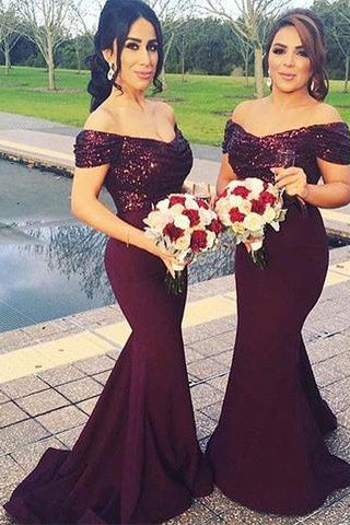 Stunning Off Shoulder Sweep Train Burgundy Mermaid Bridesmaid Dress with Sequins PM617