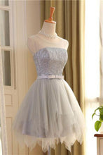 Cute A Line Sleeveless Scoop Short Silver Lace up Tulle Homecoming Dresses with Bowknot PH589