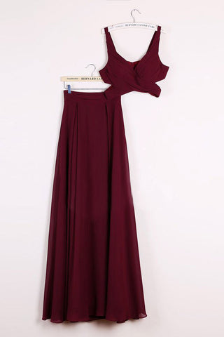 Elegant Two Pieces A-line V Neck Floor-length Burgundy Chiffon Cheap Prom Dresses uk PH671