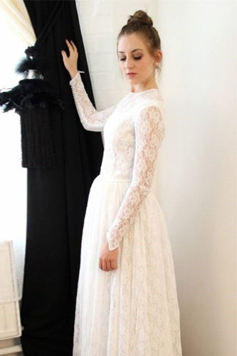 Elegant Princess Long Sleeve A Line Lace High Neck Ivory Long Wedding Dresses uk PW65