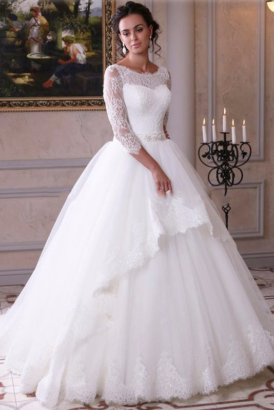 Ball Gown Lace Tulle 3 4 Sleeves Scoop White Lace Up Wedding Gowns Wedding Dresses Pw309
