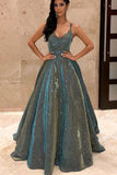 Sparkly Spaghetti Straps Green Sequins Prom Dresses, Backless Party Dresses P1218