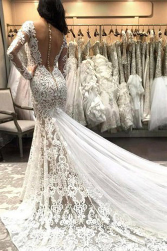Mermaid V Neck Illusion Back Long Sleeves Ivory Tulle Court Train Wedding Dress with Lace PH845