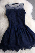 A-line Princess Mini Blue Scoop Sweet Sleeveless Crew Homecoming Dresses uk with Lace PH962