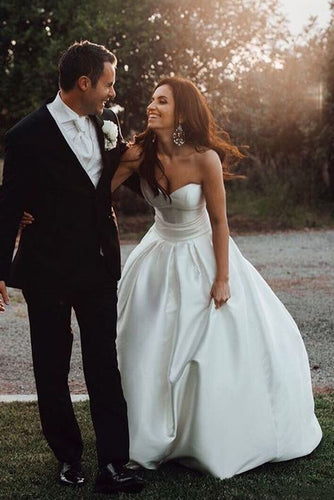 Gorgeous Ball Gown Sweetheart Ivory Strapless Satin Bridal Dress,Wedding Dresses uk PH969