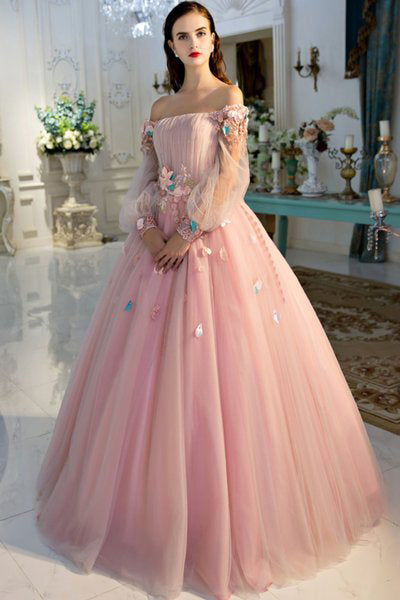 587ed285e7b6 A Line Long Sleeve Pearl Pink Ball Gown Off the Shoulder Long Floral Fairy  Prom Dresses