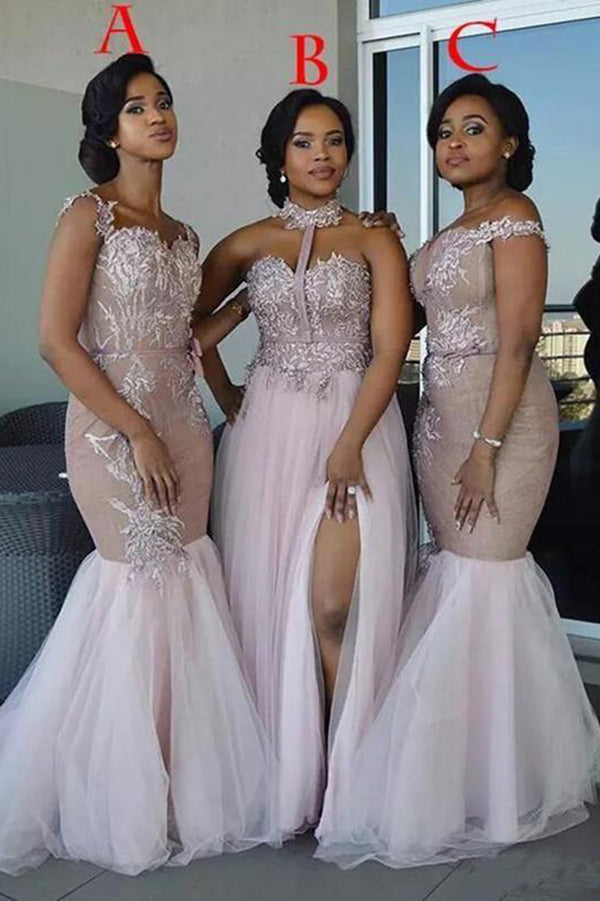 60784a724719 Mixed Style Long Lace Appliques Mermaid Tulle Blush Pink Long Bridesmaid  Dresses uk PH835