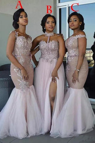 Mixed Style Long Lace Appliques Mermaid Tulle Blush Pink Long Bridesmaid Dresses uk PH835