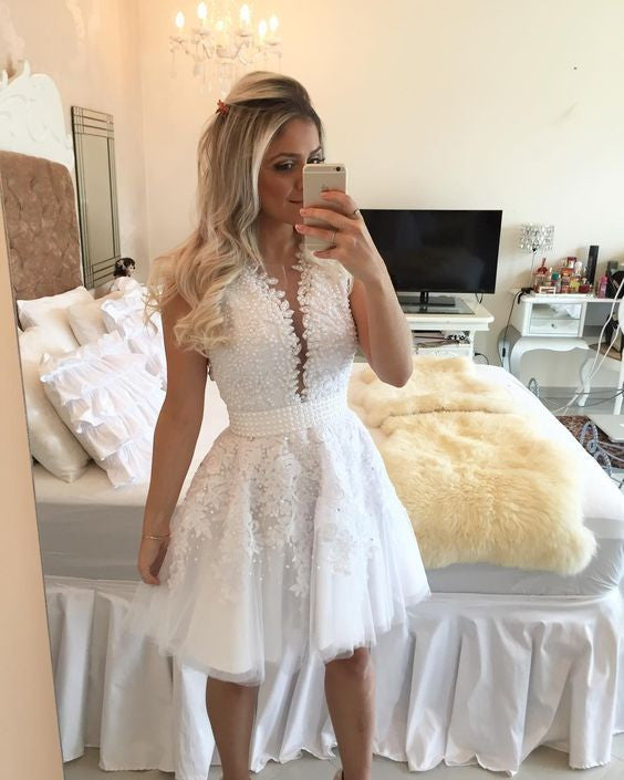 A-line Hot-selling Deep V-Neck White Lace Short Homecoming Dresses PM468