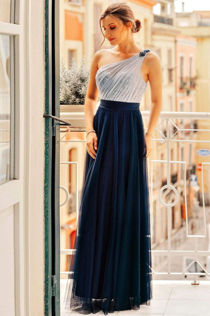 Flowy One Shoulder Navy Blue Tulle Long Prom Dresses, Cheap Formal Dresses P1177