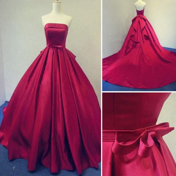 Long Burgundy Prom Dresses Ball Gowns Evening Party Gown Strapless Stain Lace-up Dress PM715