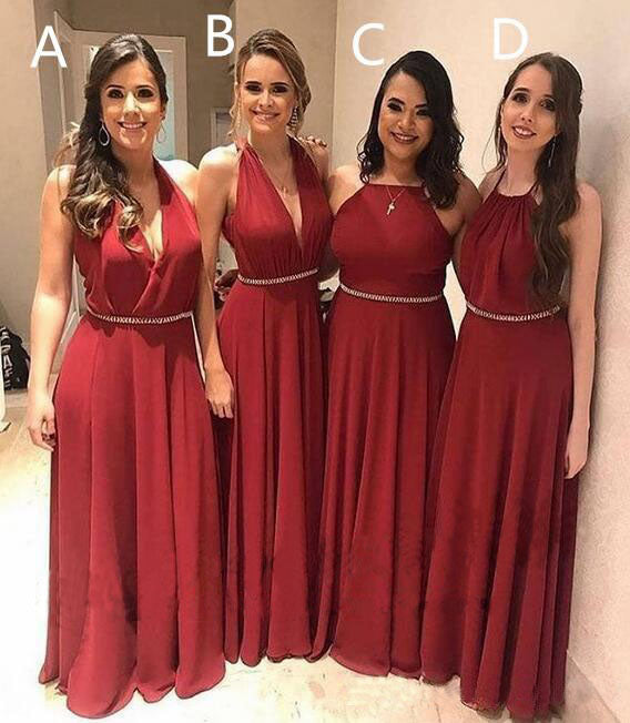 Elegant A Line Chiffon Red Crystal Maid of Honor, Bridesmaid Dresses with Beads BD1051