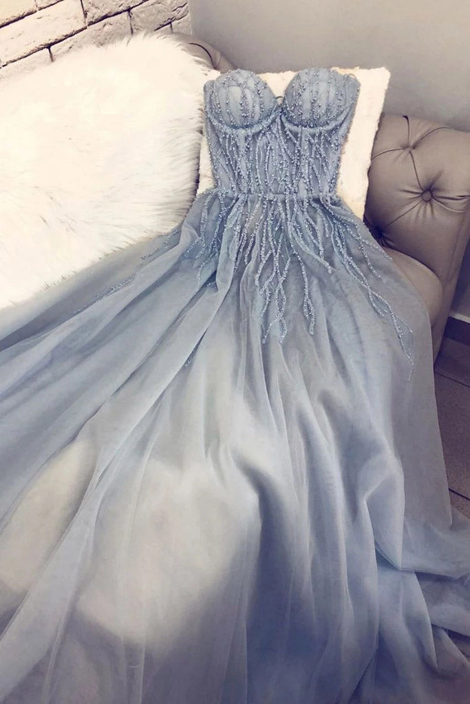 A Line Blue Strapless Sweetheart Tulle Appliques Prom Dresses, Charming Prom Gowns P1343