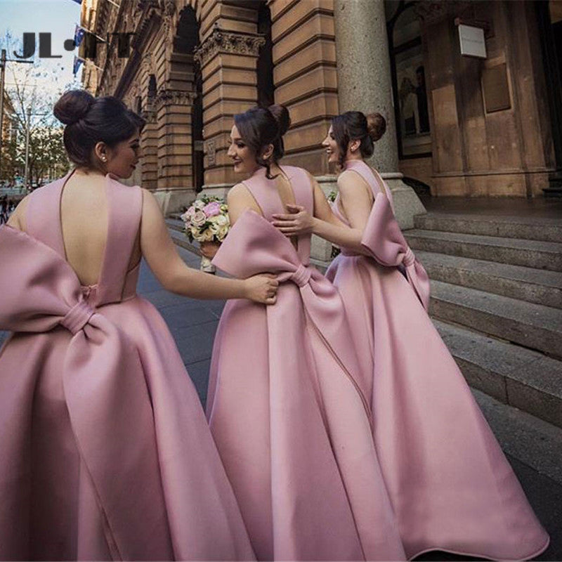 Ball Gown High Neck Satin V Neck Bridesmaid Dresses with Bowknot, Wedding Party Dress BD1044