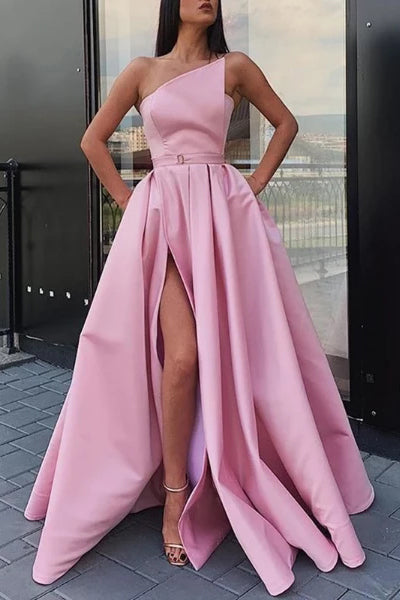 Elegant Strapless Satin High Slit Prom Dresses Long Simple Evening Dresses P1200