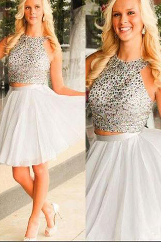 Fashion Halter A-line Two Piece Short Homecoming Dress PM437